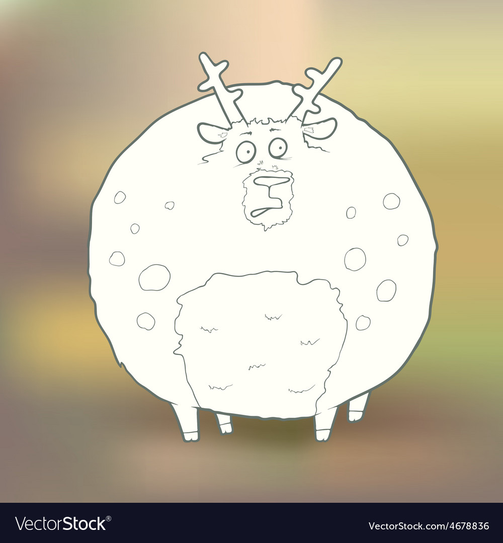 Hand-drawn round deer with vector   Price: 1 Credit (USD $1)