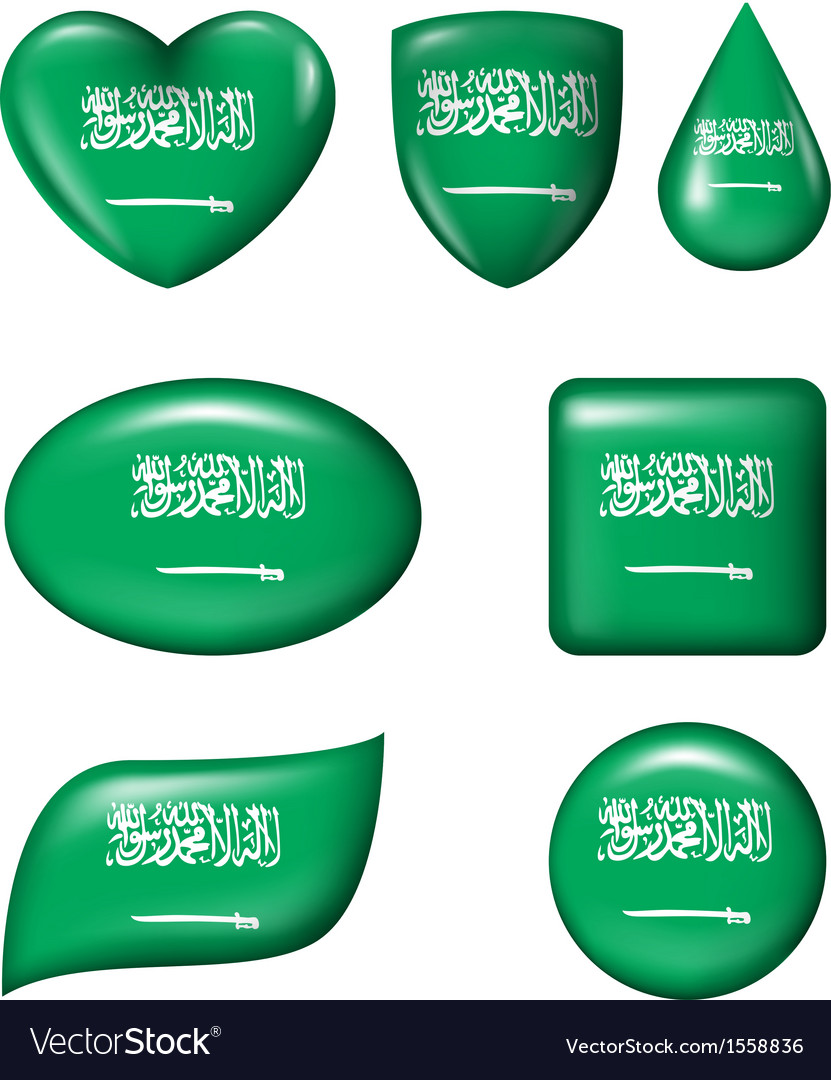 Saudi arabia flag in various shape glossy button vector | Price: 1 Credit (USD $1)