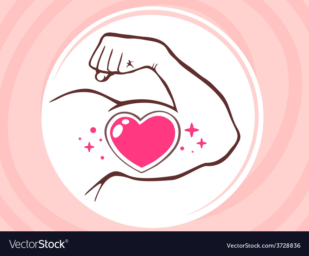 Strong man hand with icon of heart on pi vector | Price: 1 Credit (USD $1)