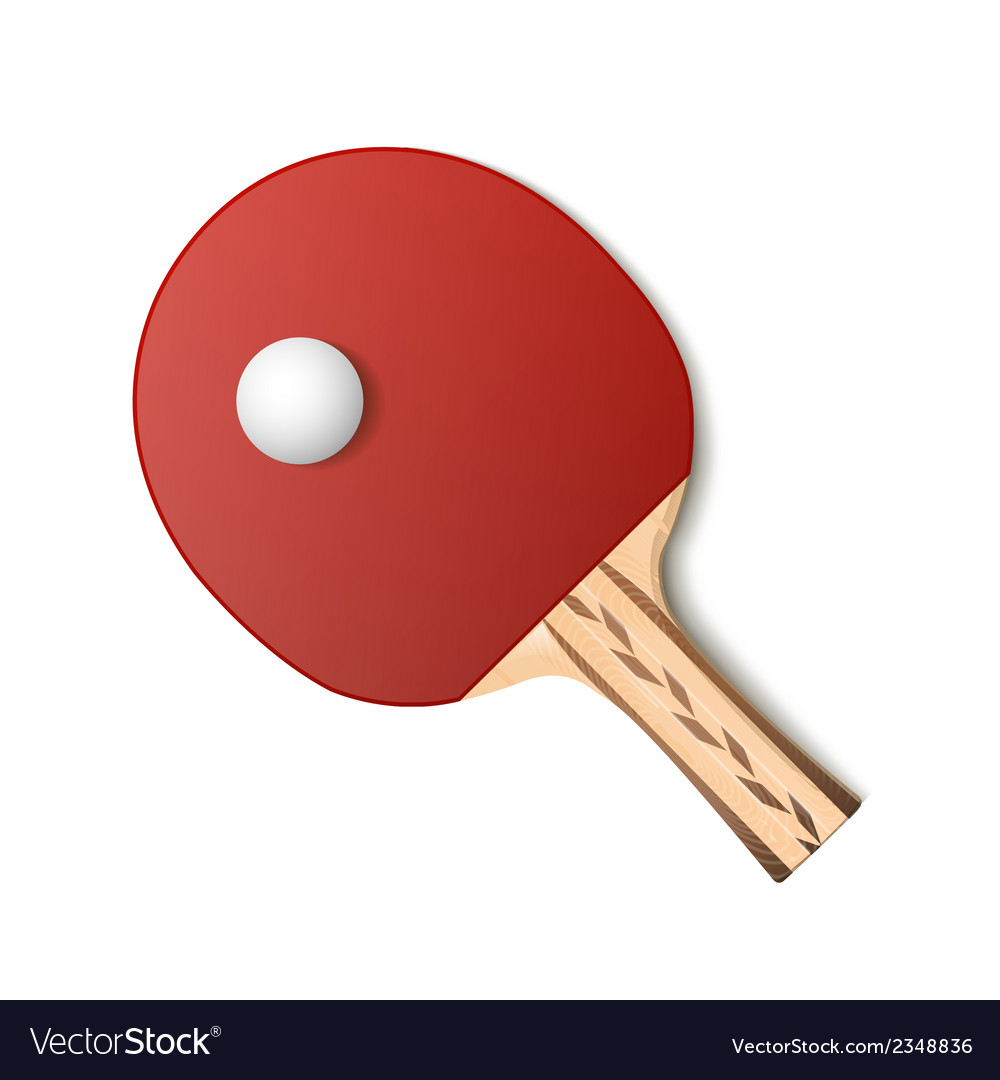 Table tennis red racket and ball vector | Price: 1 Credit (USD $1)