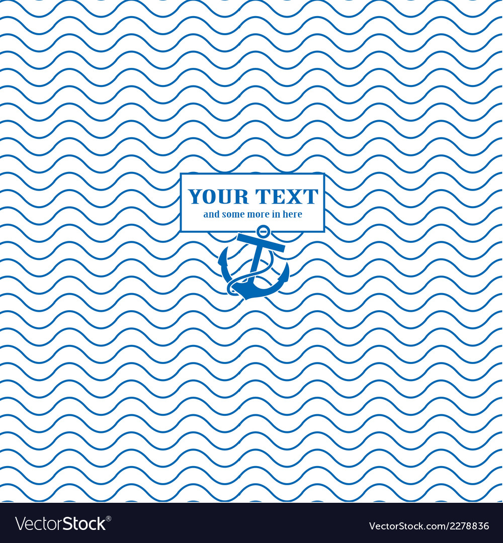 Waves and anchors blue white marine vector | Price: 1 Credit (USD $1)