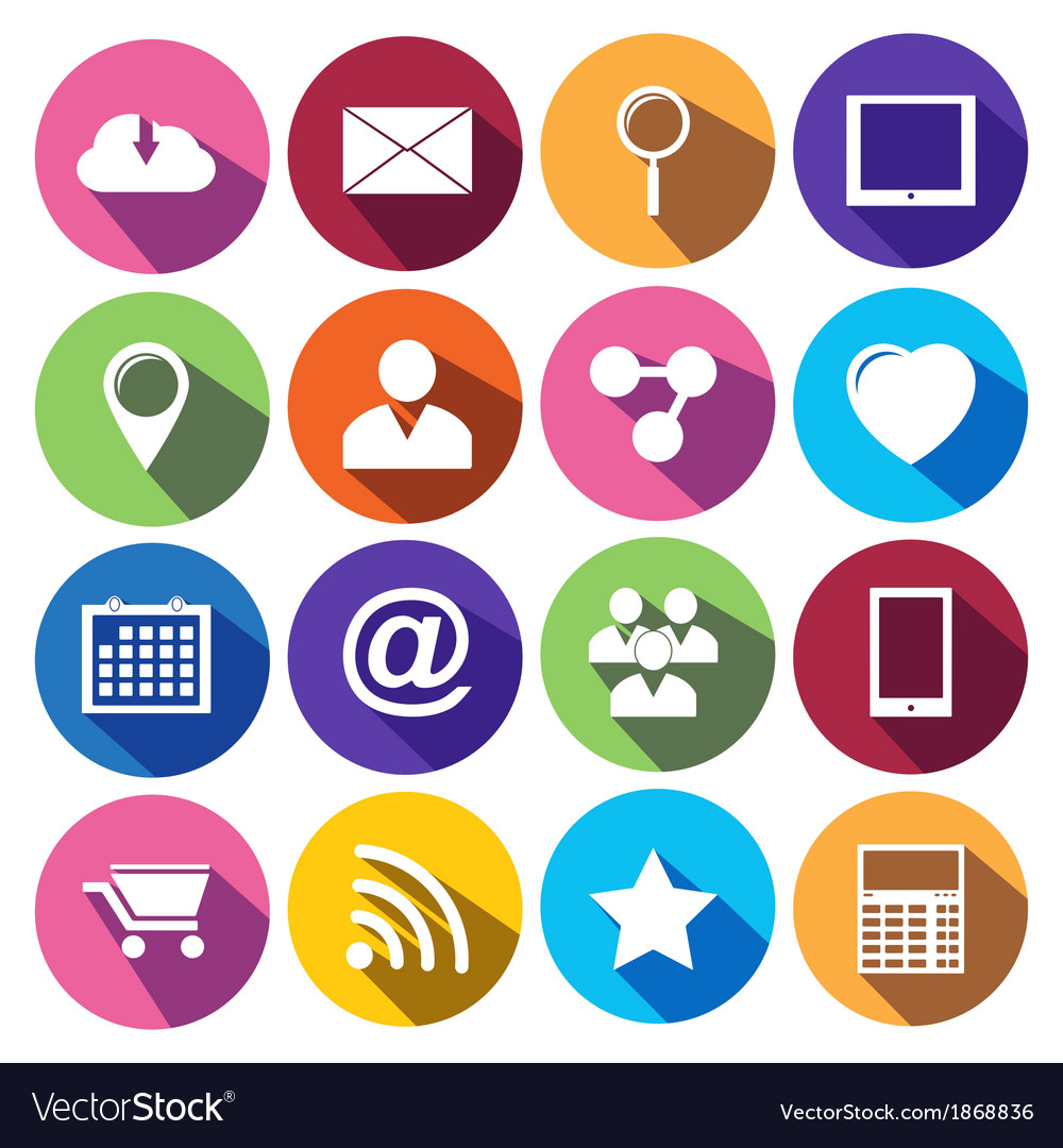Web icons set in flat design vector | Price: 1 Credit (USD $1)