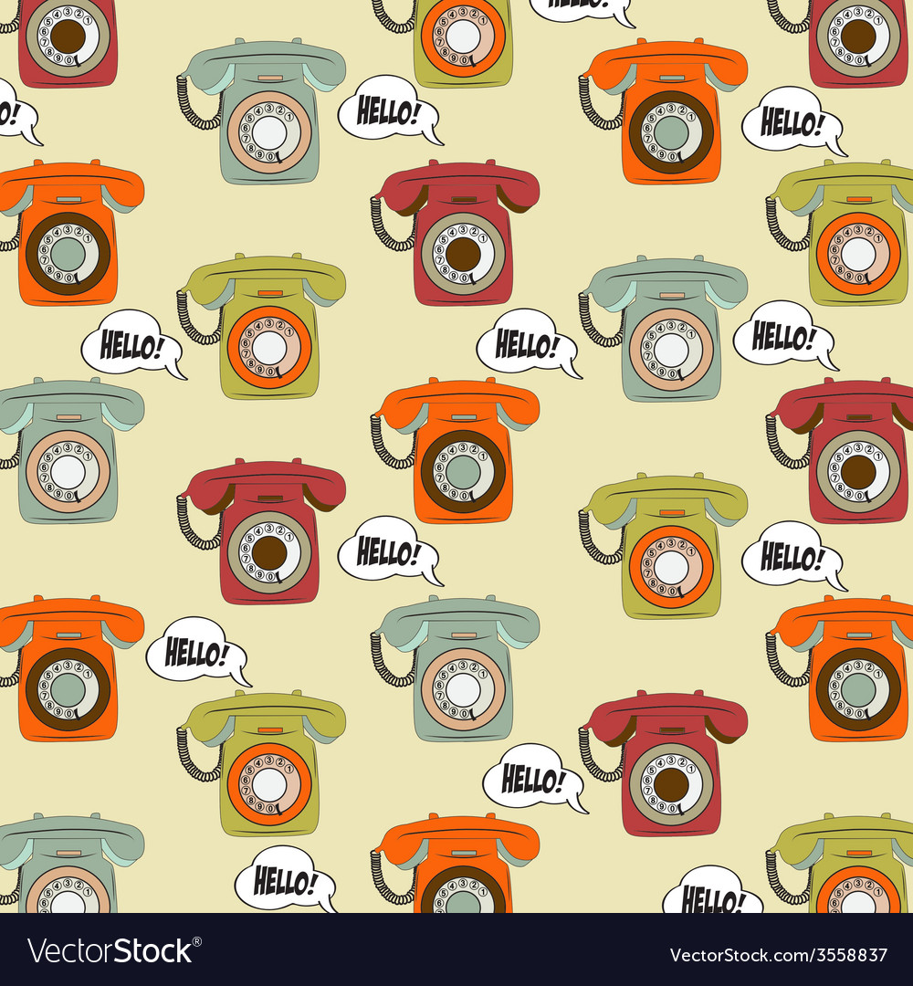 Background with retro phone vector | Price: 1 Credit (USD $1)