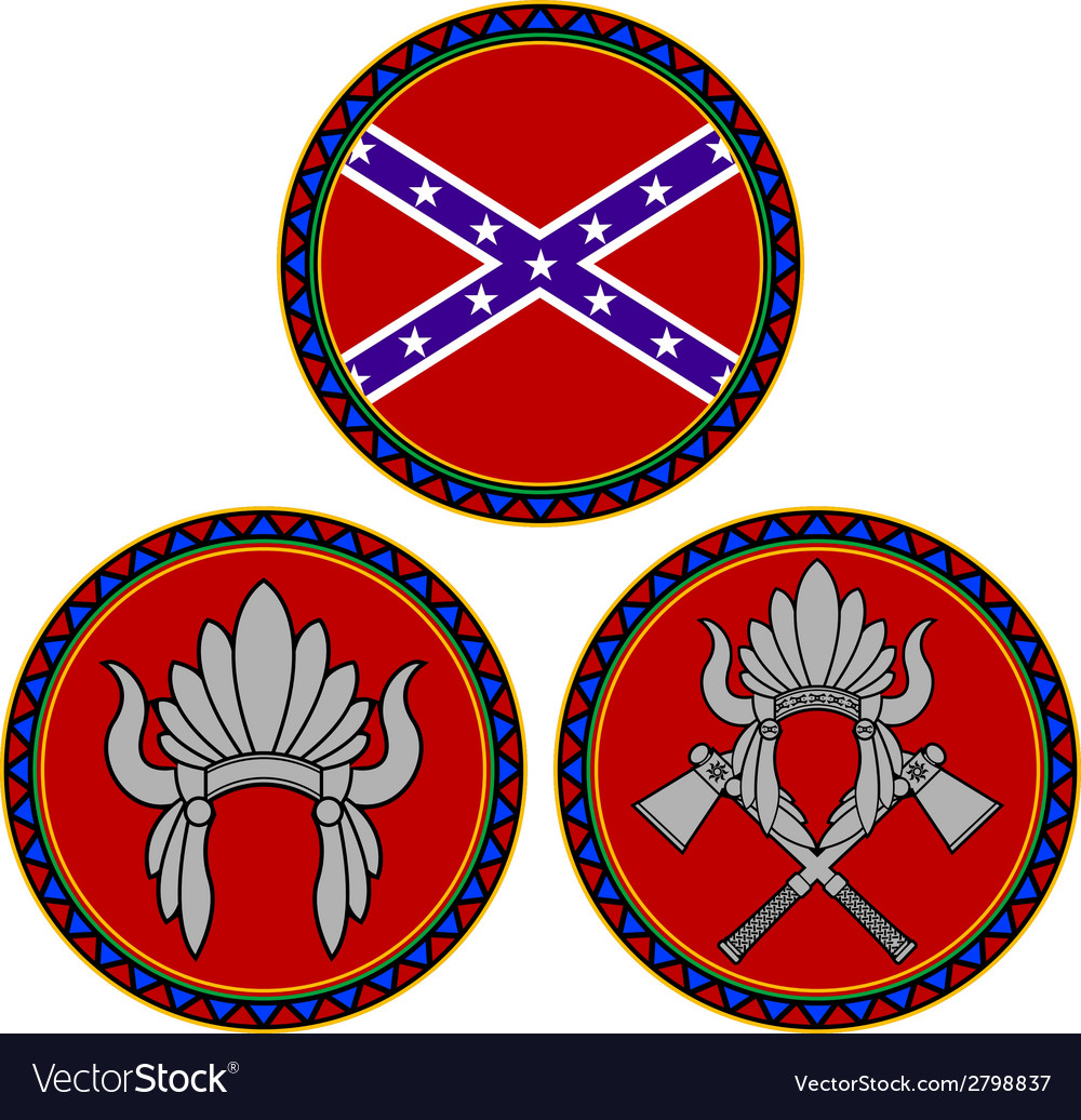 Confederate flag and indian headdress vector | Price: 1 Credit (USD $1)