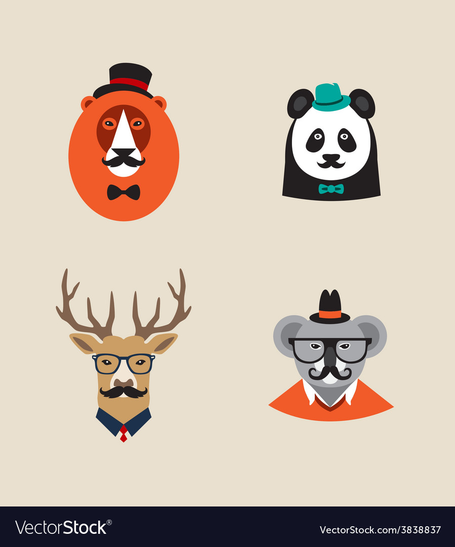 Hipster animals set of icons lion panda vector | Price: 1 Credit (USD $1)