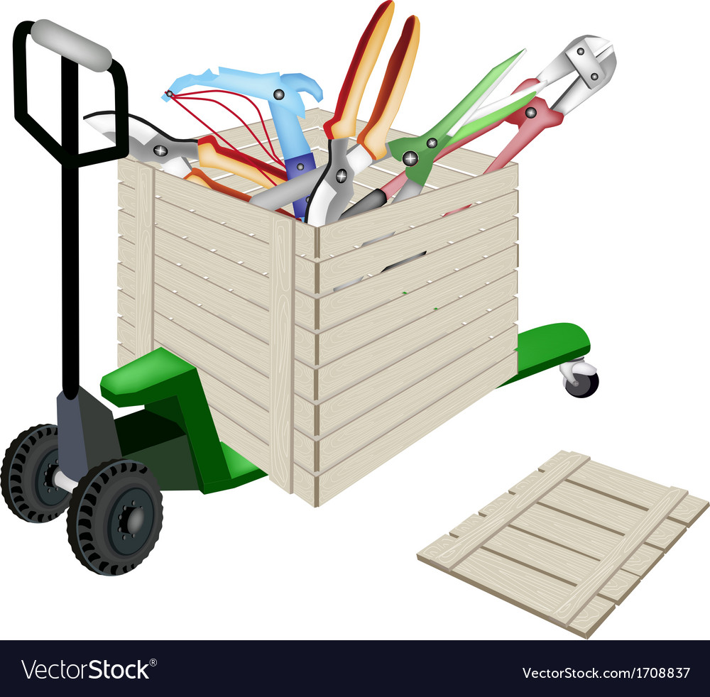 Pallet truck loading craft tools in shipping box vector | Price: 1 Credit (USD $1)