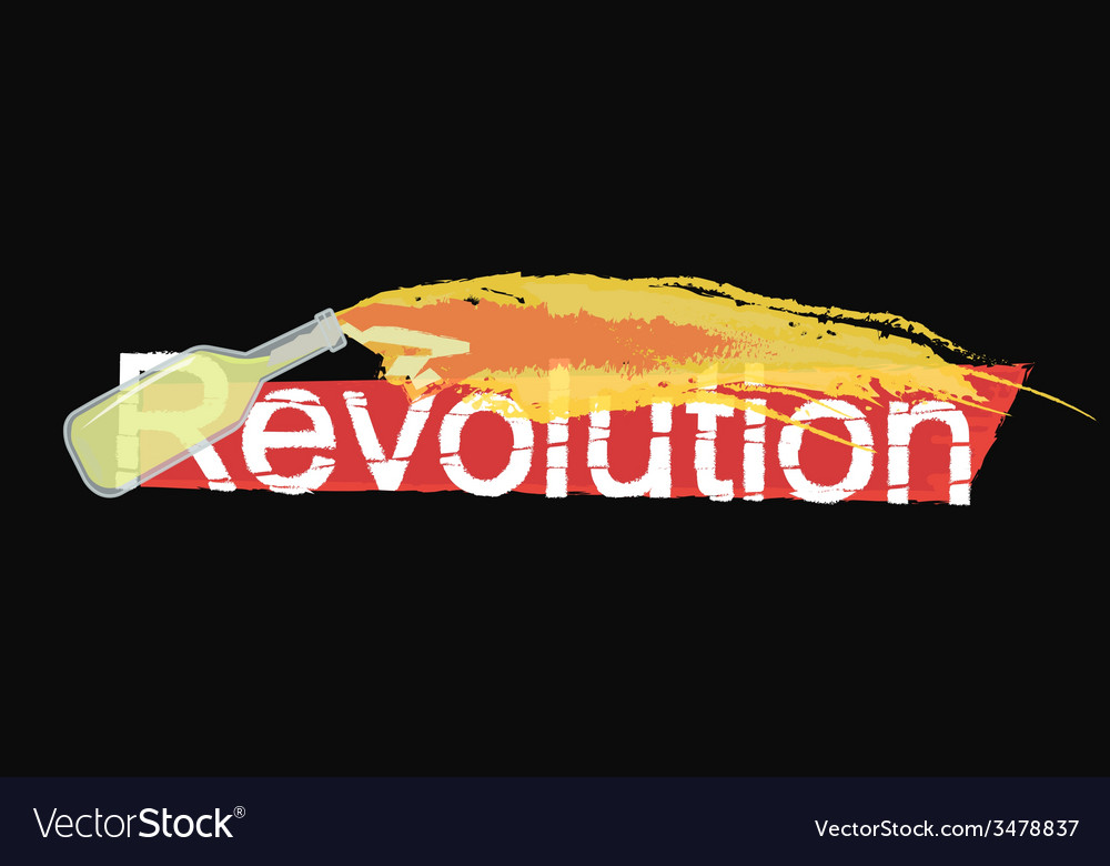 Revolution grunge scratched logo on black vector | Price: 1 Credit (USD $1)
