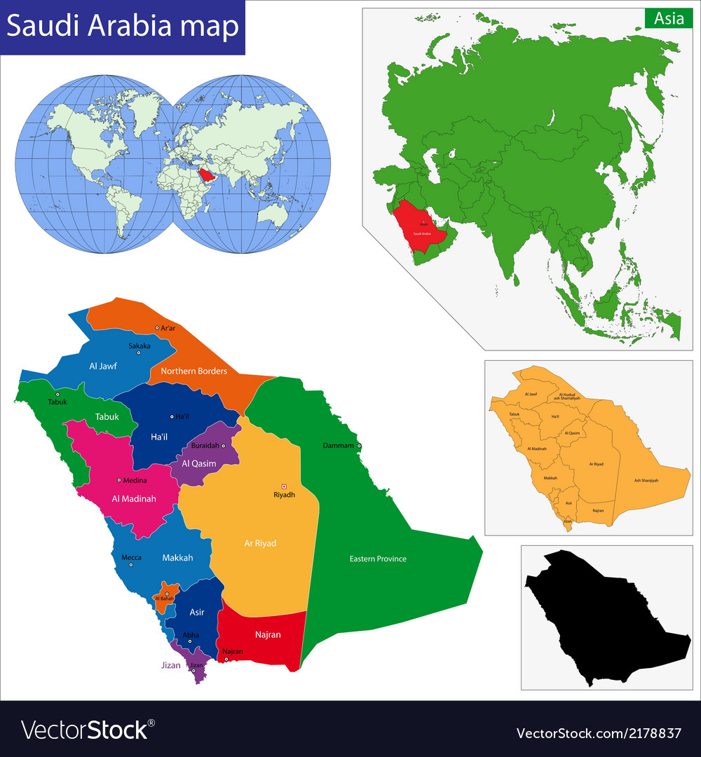 Saudi arabia map vector | Price: 1 Credit (USD $1)