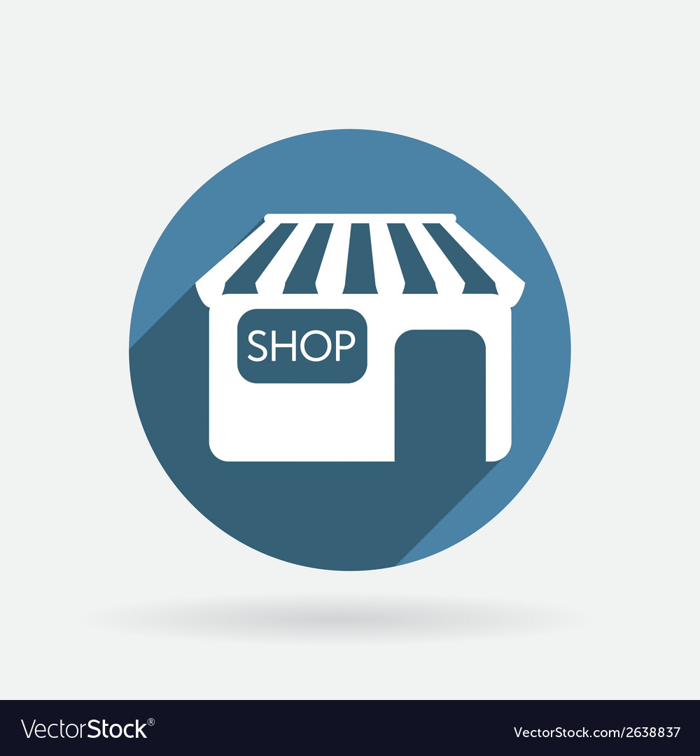 Shop building circle blue icon with shadow vector | Price: 1 Credit (USD $1)
