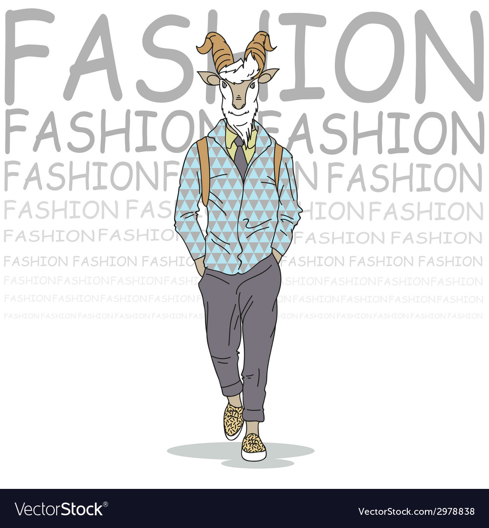 Fashion of goat hipster style vector   Price: 1 Credit (USD $1)