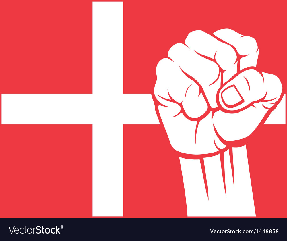 Flag of denmark with fist vector | Price: 1 Credit (USD $1)