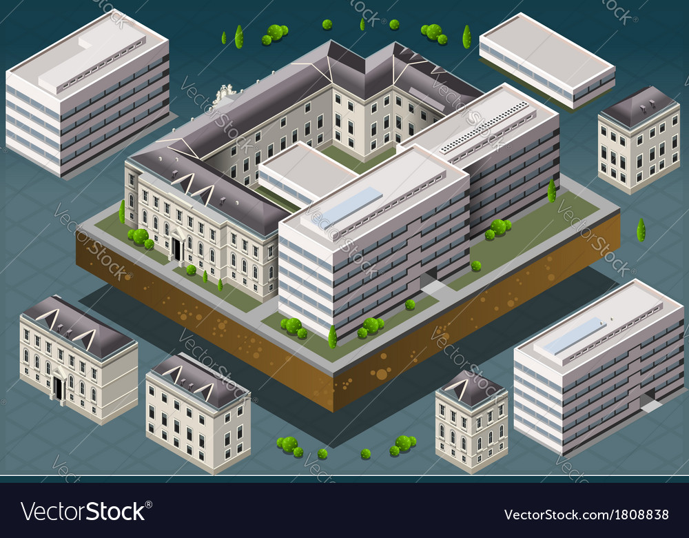 Isometric european historic building vector | Price: 1 Credit (USD $1)