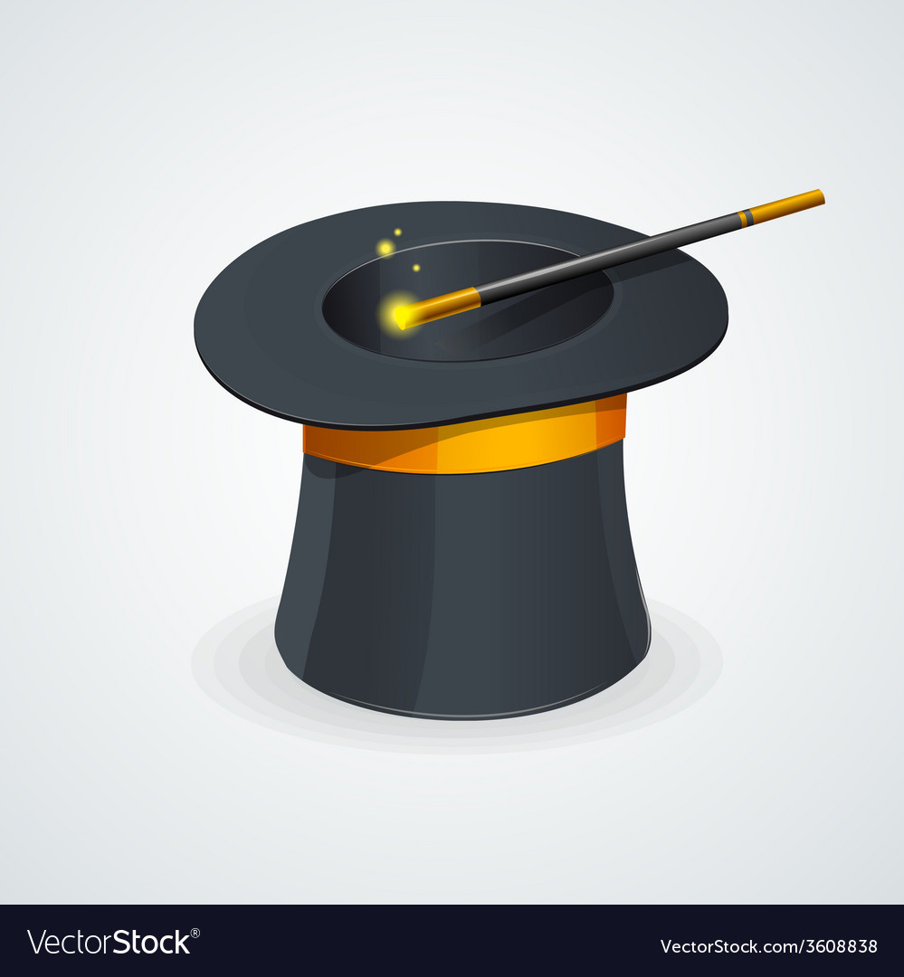 Magic wand and cylinder hat vector | Price: 1 Credit (USD $1)