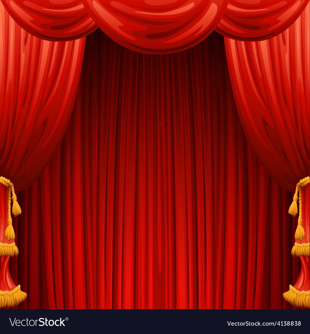 Red curtains theater scene vector | Price: 1 Credit (USD $1)