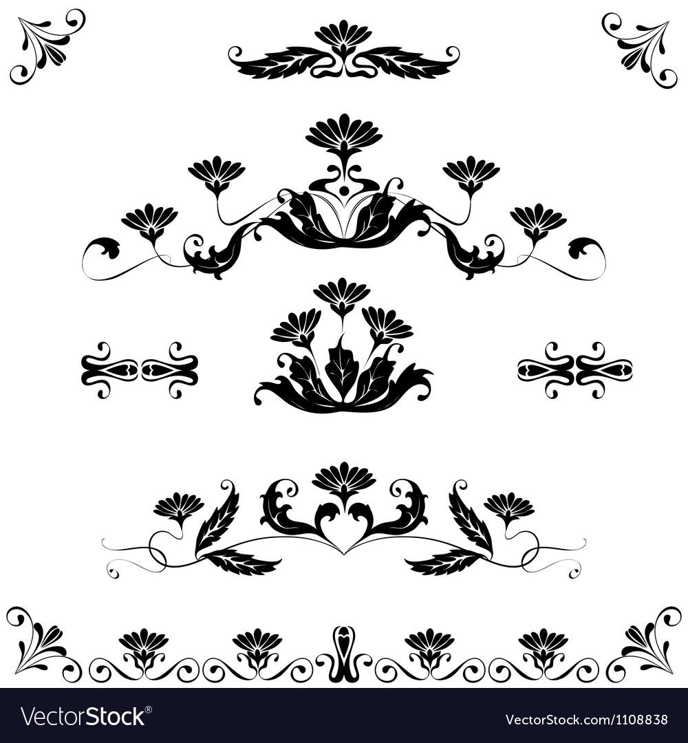 Set elements ornaments floral vector | Price: 1 Credit (USD $1)