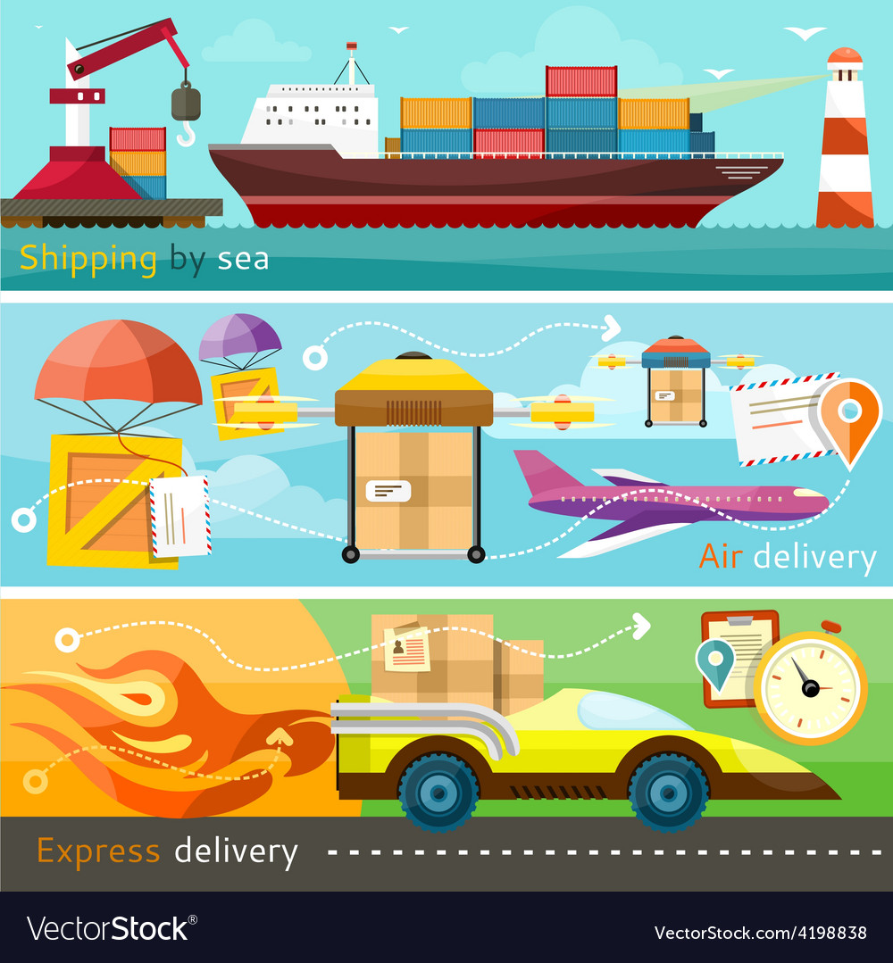 Shipping delivery car ship plane vector