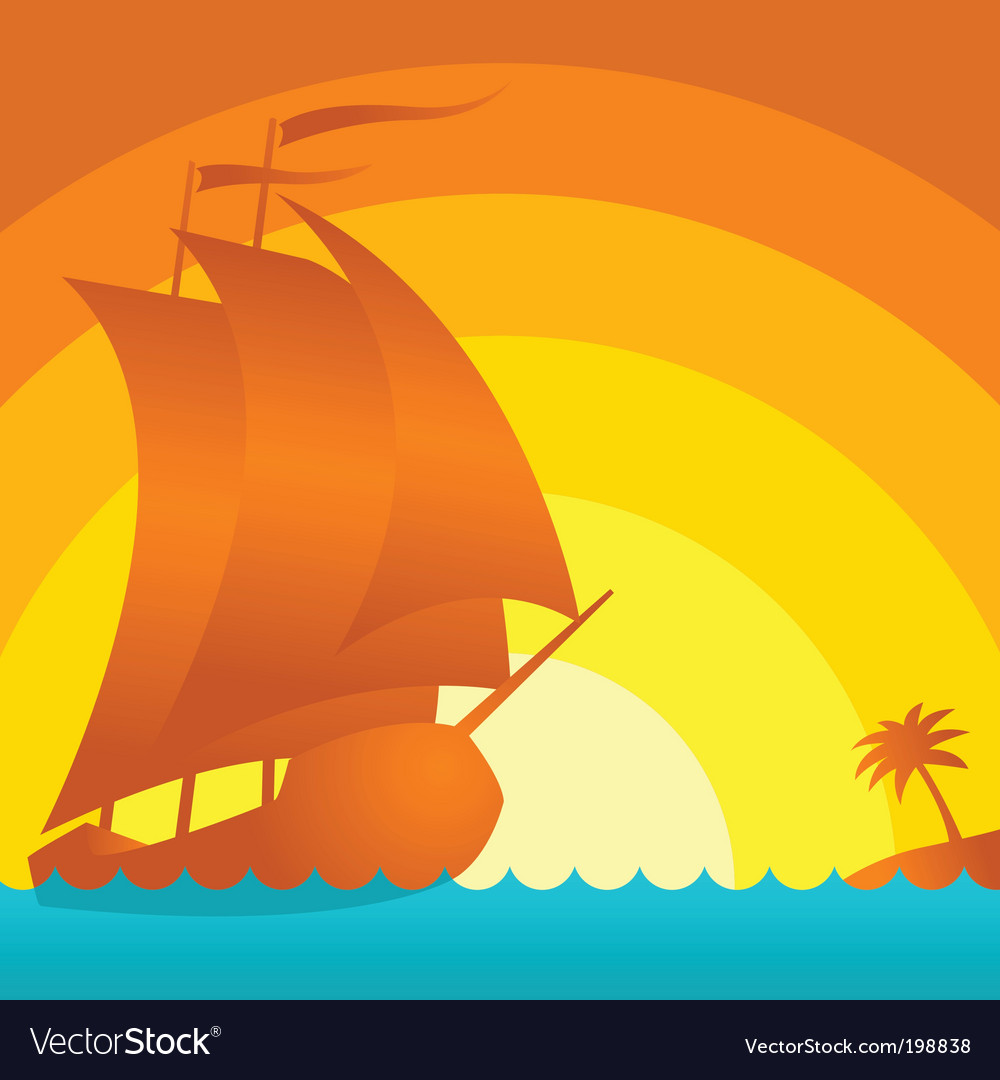 Sunset ship vector | Price: 1 Credit (USD $1)