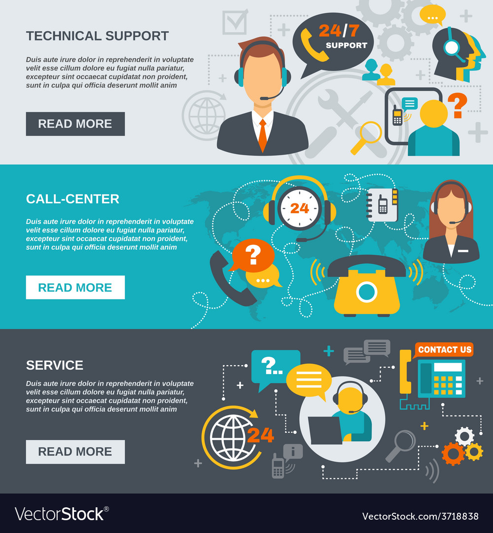 Support call center banner vector | Price: 1 Credit (USD $1)