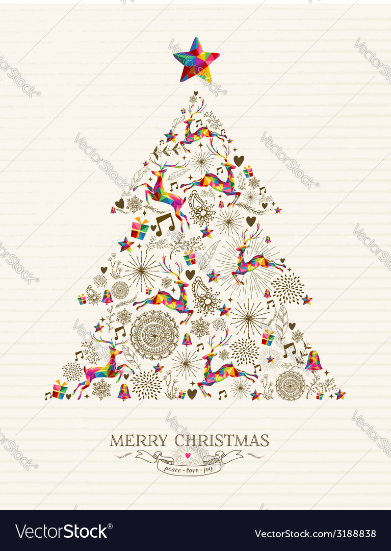 Vintage christmas tree greeting card vector | Price: 1 Credit (USD $1)