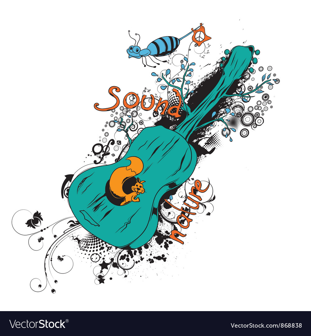 Vintage t-shirt design with guitar vector   Price: 1 Credit (USD $1)