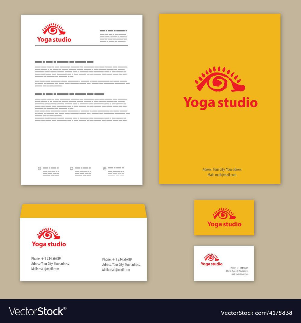 Yoga studio branding set vector | Price: 1 Credit (USD $1)