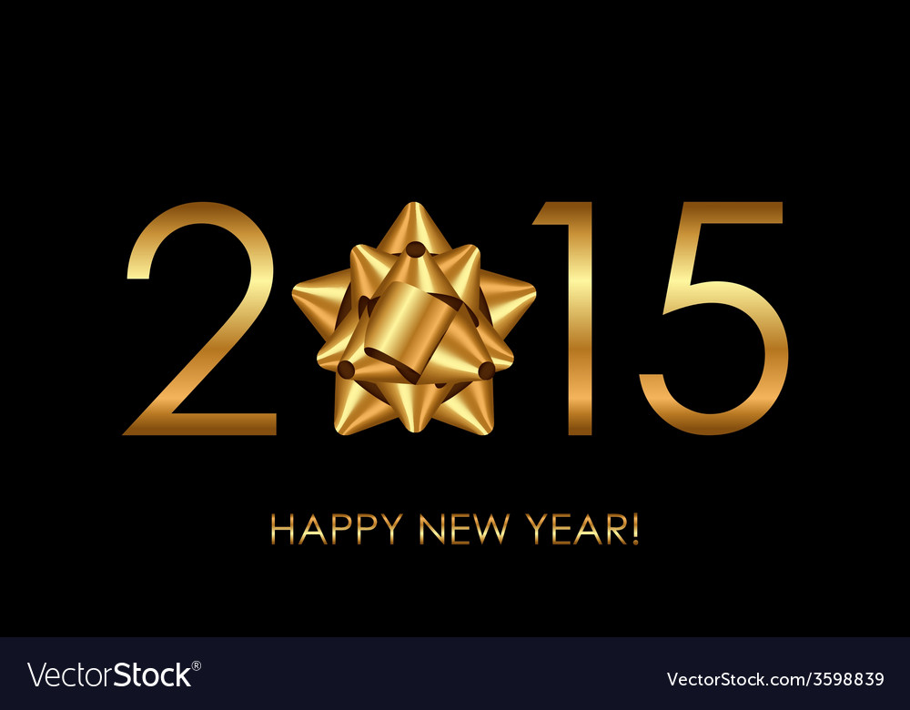 2015 happy new year background with gold bow vector