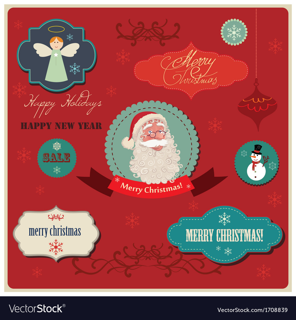 Christmas labels elements vector | Price: 1 Credit (USD $1)