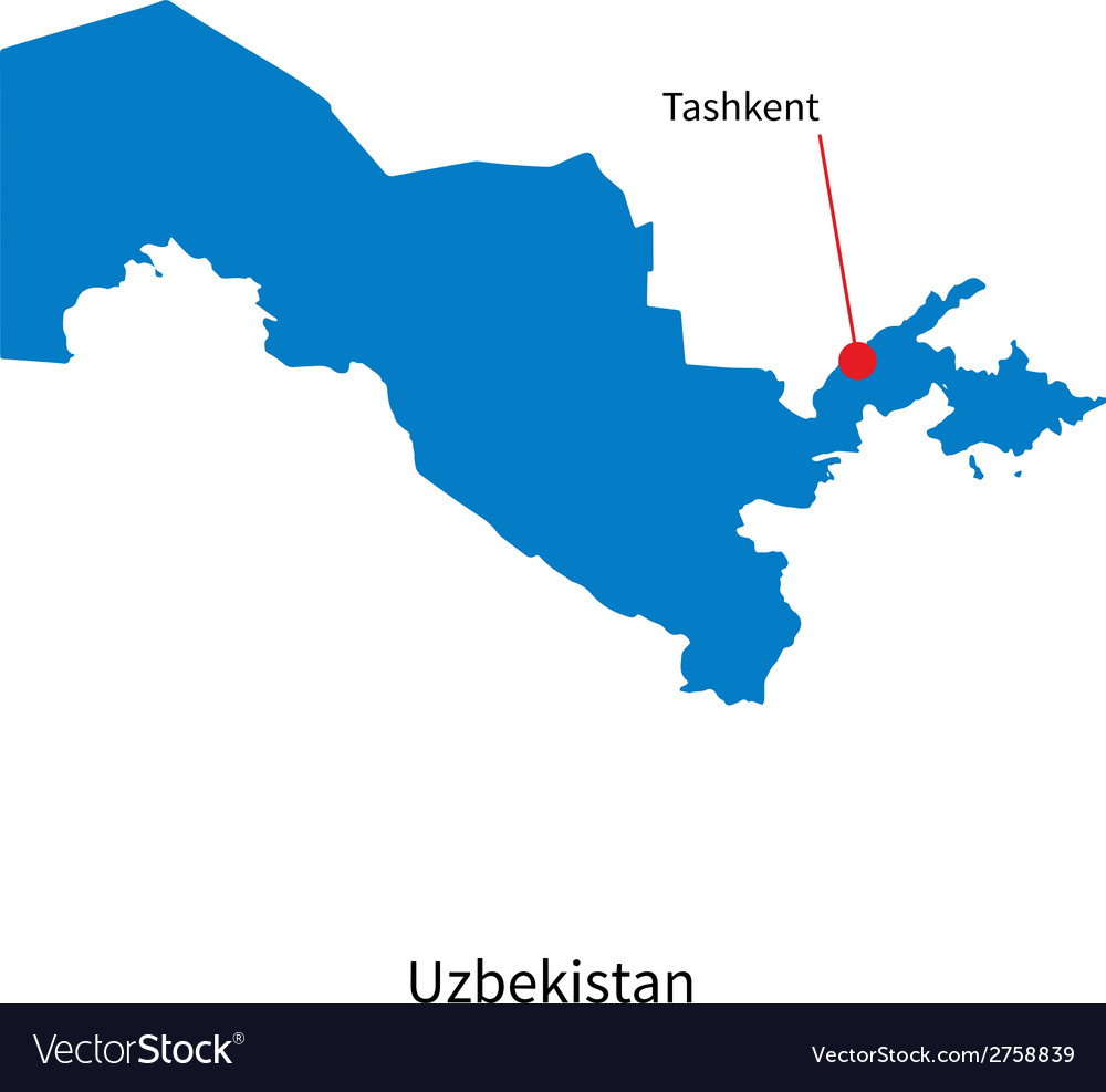 Detailed map of uzbekistan and capital city vector | Price: 1 Credit (USD $1)