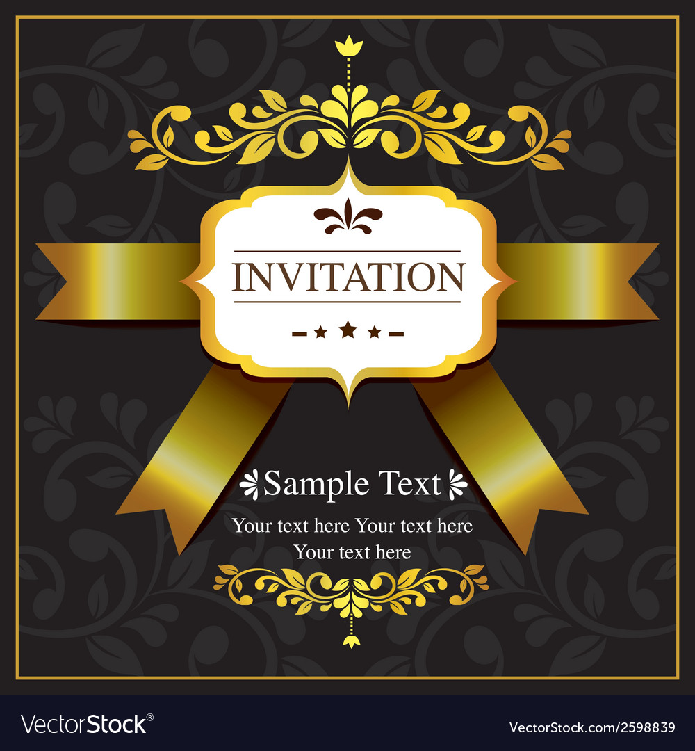 Invitation card black and gold style vector | Price: 1 Credit (USD $1)