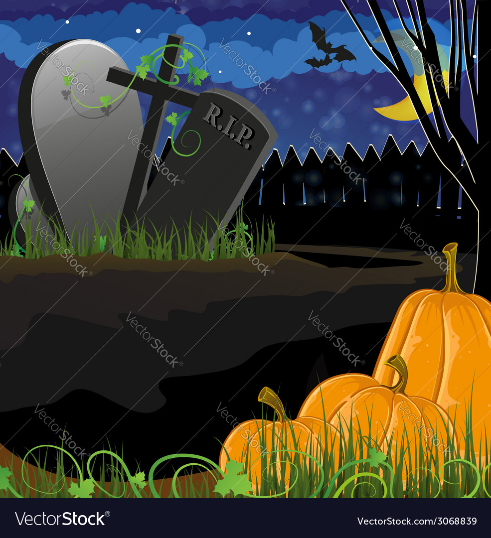 Pumpkins near the graves vector | Price: 3 Credit (USD $3)