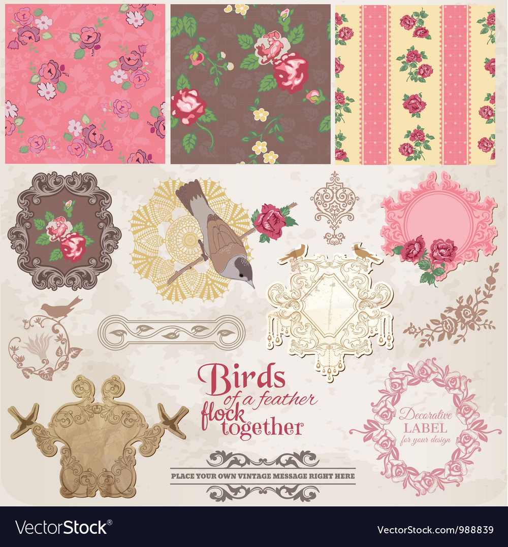Scrapbook design elements - vintage flowers vector | Price: 1 Credit (USD $1)