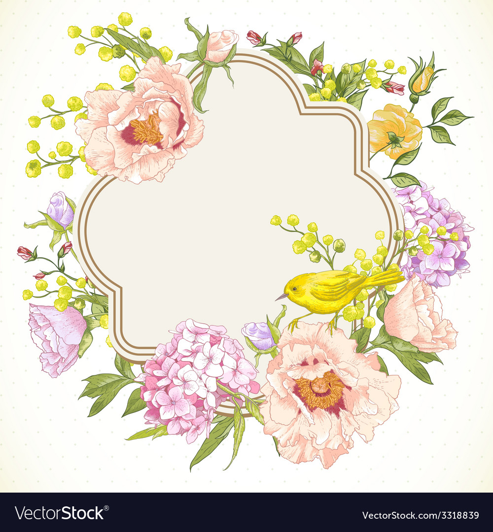 Spring vintage floral bouquet with birds vector | Price: 1 Credit (USD $1)