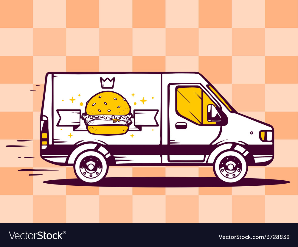 Van free and fast delivering burger with vector | Price: 1 Credit (USD $1)