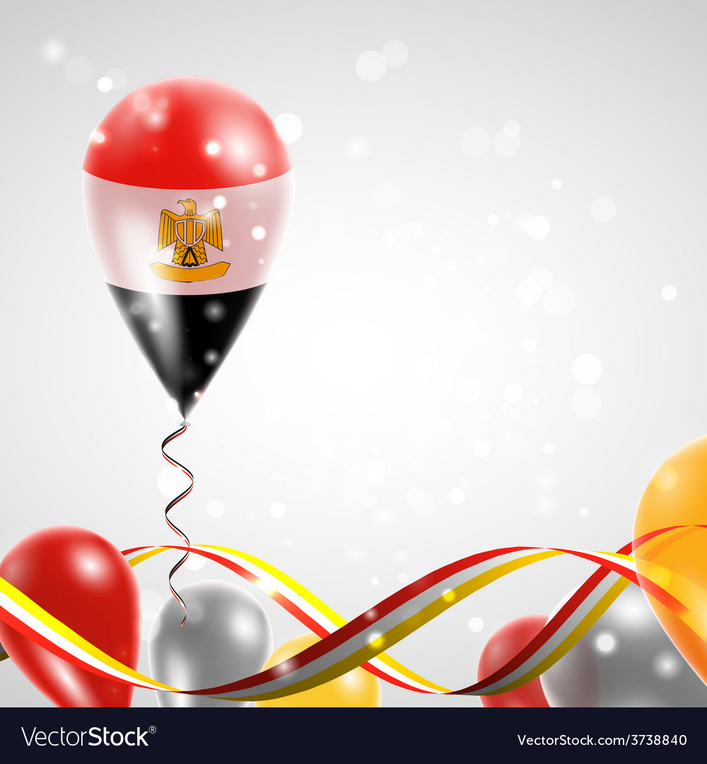 Flag of egypt on balloon vector | Price: 3 Credit (USD $3)