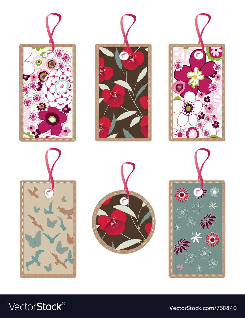Floral tags vector | Price: 1 Credit (USD $1)