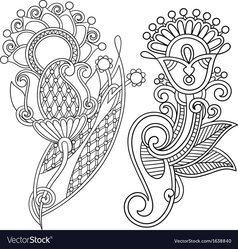 Hand draw line art ornate flower design vector | Price: 1 Credit (USD $1)