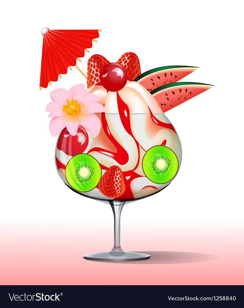 Ice cream with strawberry kiwi cherry tree and flo vector | Price: 1 Credit (USD $1)