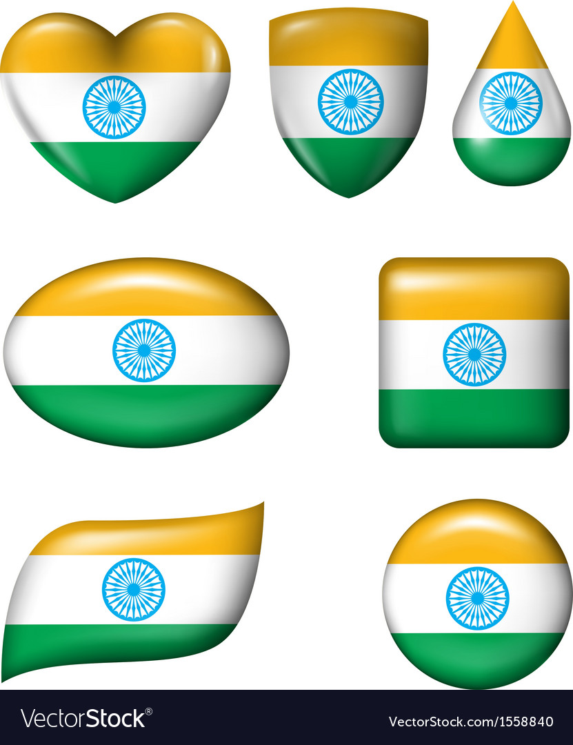 Indian flag in various shape glossy button vector | Price: 1 Credit (USD $1)