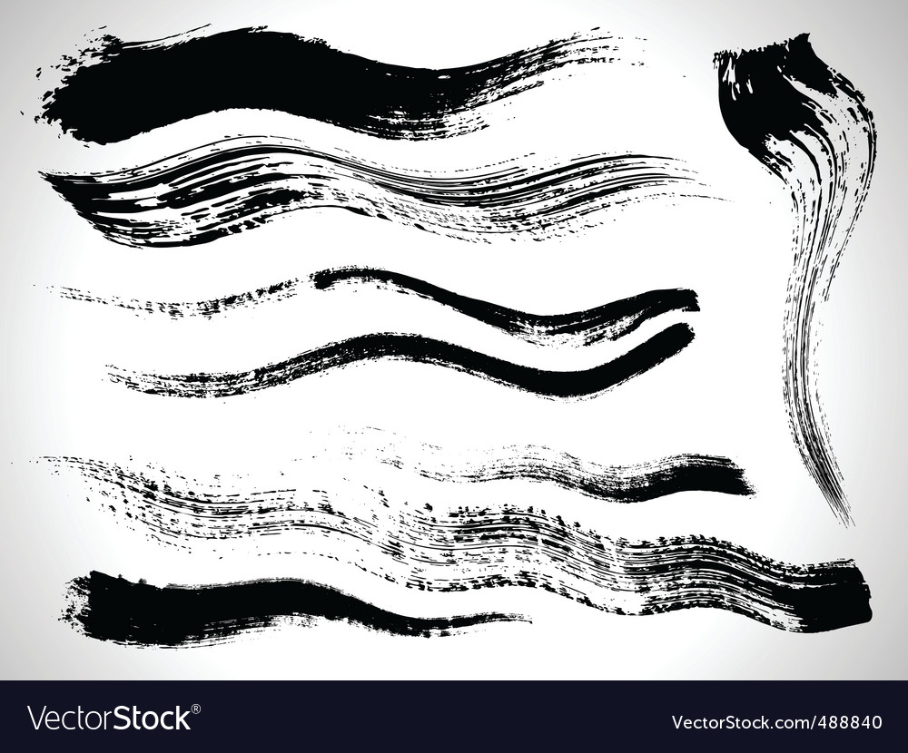 ink brush strokes set vector | Price: 1 Credit (USD $1)