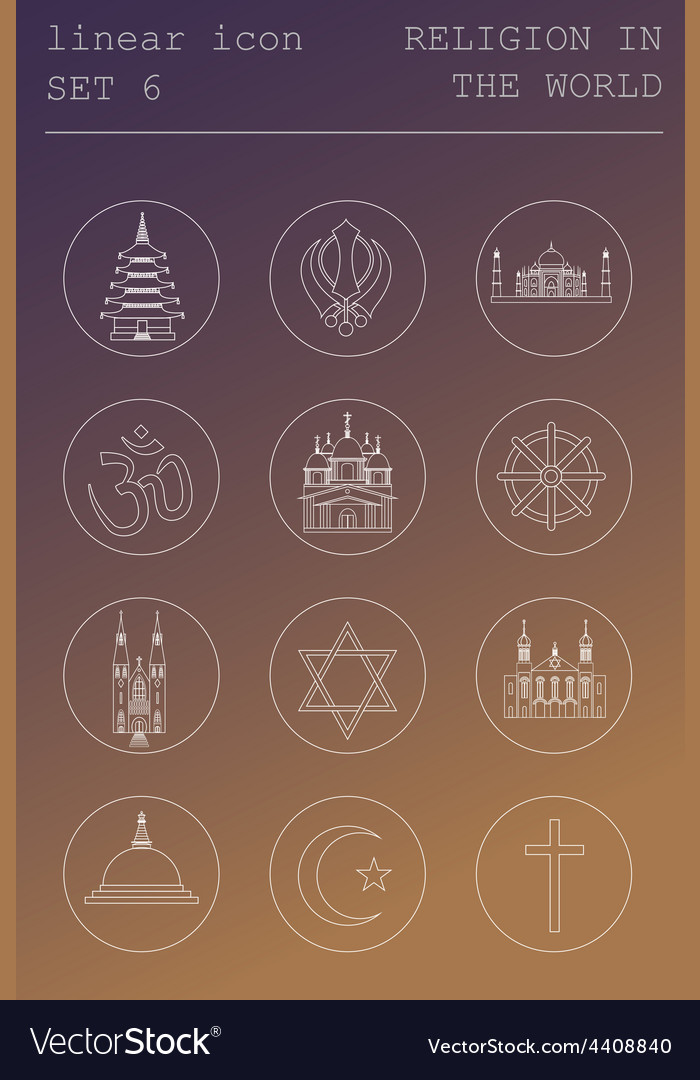 Outline icon set religion in the world flat linear vector | Price: 1 Credit (USD $1)
