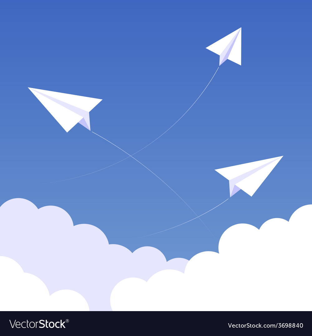 Sky paperplanes background 02 vector | Price: 1 Credit (USD $1)