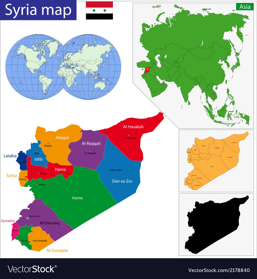 Syria map vector | Price: 1 Credit (USD $1)