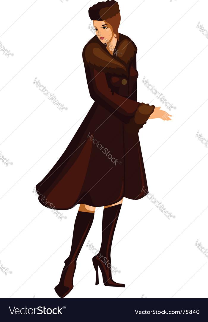 Woman in fur coat vector | Price: 3 Credit (USD $3)