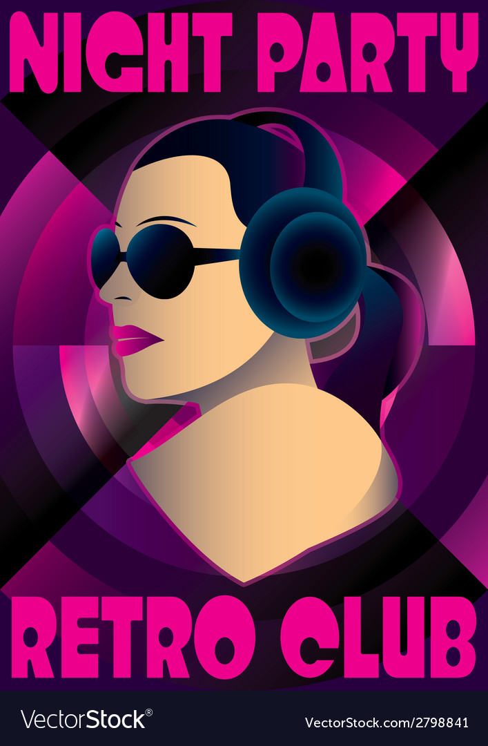 Abstract retro poster with a girl dj vector | Price: 1 Credit (USD $1)