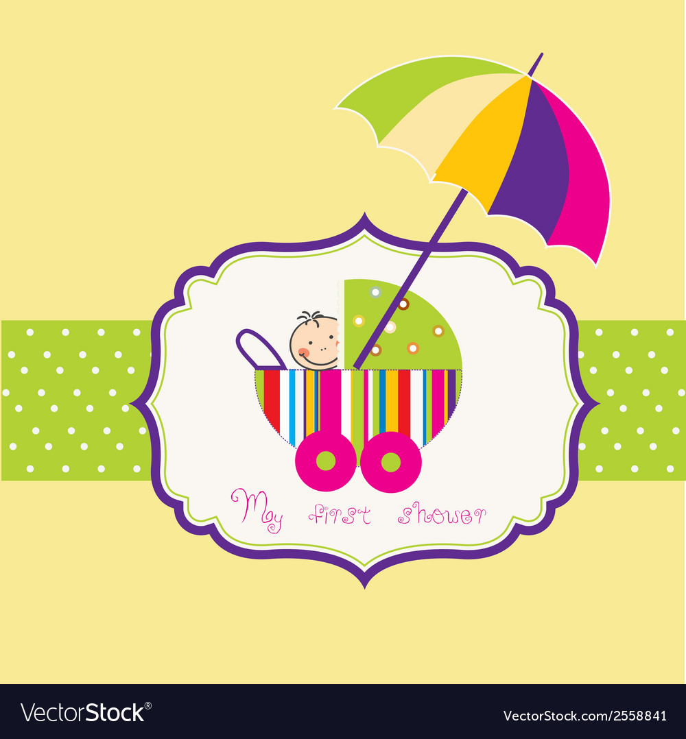 Baby shower card with cute stroller vector | Price: 1 Credit (USD $1)