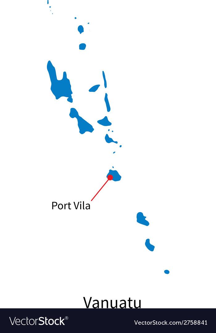 Detailed map of vanuatu and capital city port vila vector | Price: 1 Credit (USD $1)