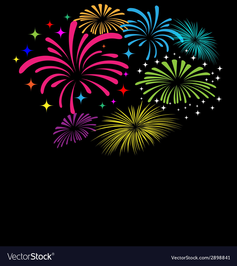 Fireworks on black background vector | Price: 1 Credit (USD $1)