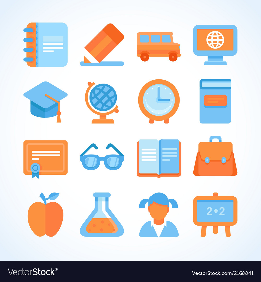 Flat icon set of education symbols vector | Price: 1 Credit (USD $1)
