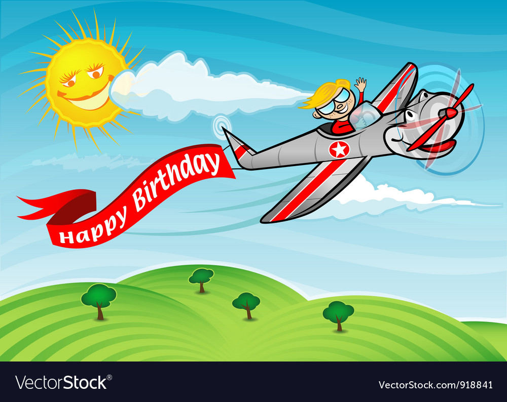 Happy birthday airplane vector | Price: 3 Credit (USD $3)