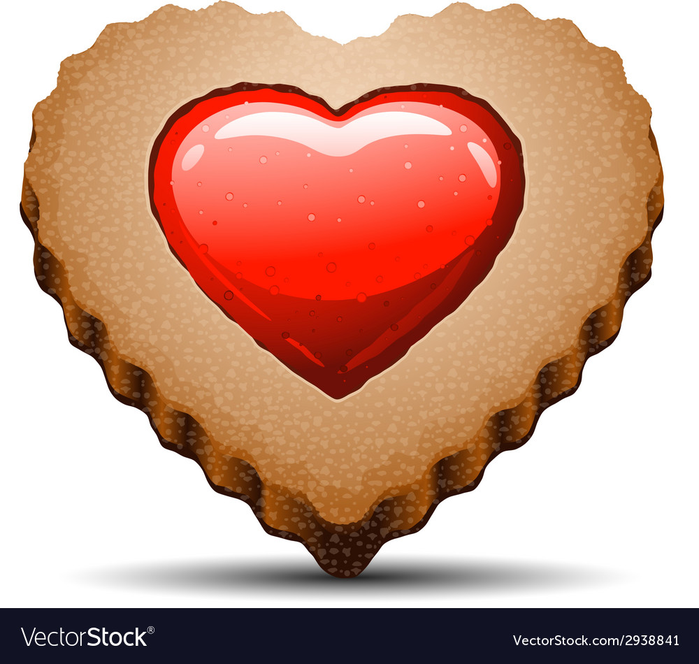Heart shaped cookie on white background vector | Price: 1 Credit (USD $1)